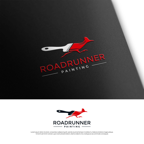 Paintbrush design with the title 'Roadrunner painting'