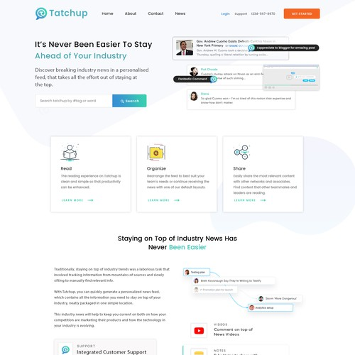 B2B website with the title 'TatChup B2B Website for personlaised Newsfeed'