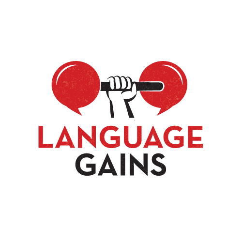 Language school logo with the title 'Language Gains'