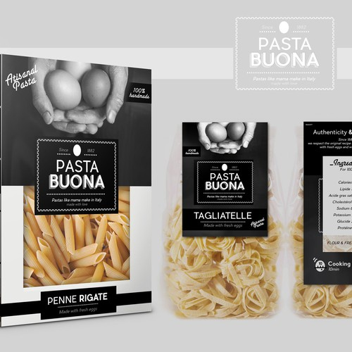 Noodles packaging with the title 'Pasta Buona'