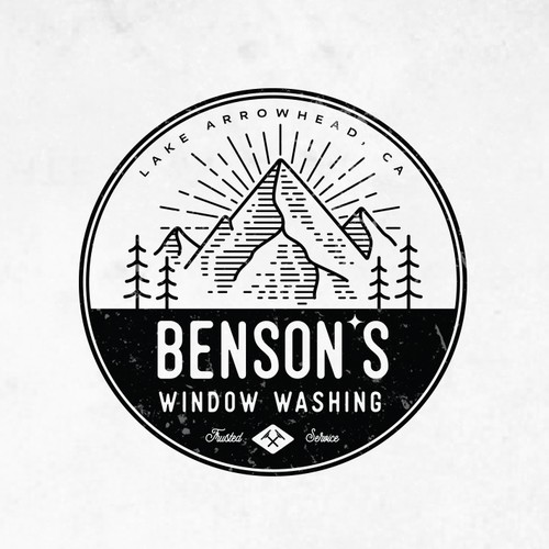 Rustic brand with the title 'BENSONS WINDOW WASHING LOGOS'
