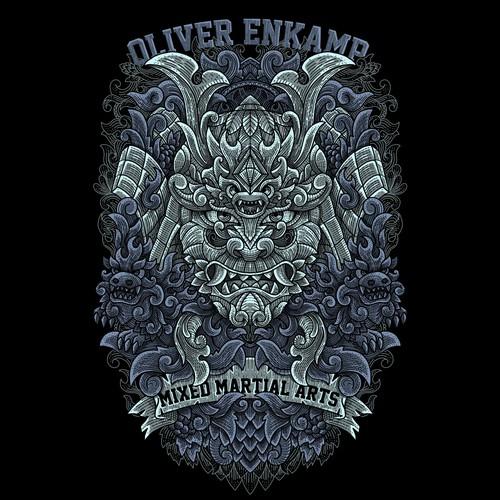 Album design with the title 'Samurai T-shirt design'