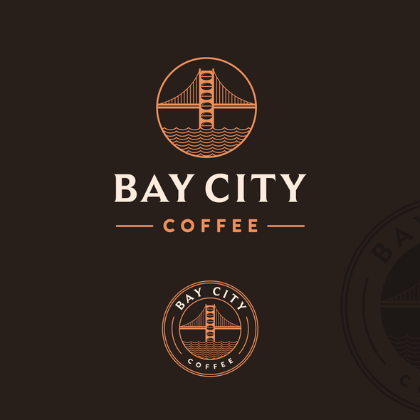 Golden Gate bridge logo with the title 'Bay City Coffee'