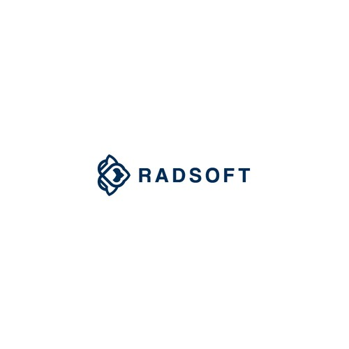 Cutting edge logo with the title 'Radsoft Logo Design'