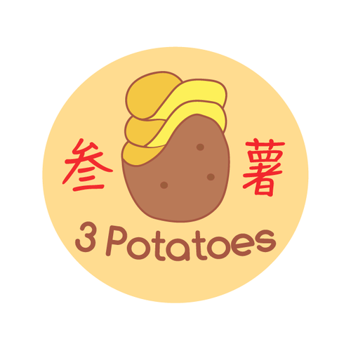 Potato logo with the title '3 Potatoes - chips'