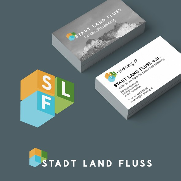 3D color logo with the title 'Logo for landscape architecture.'