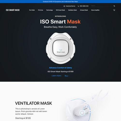 Elegant website with the title 'ISO Smart Mask'