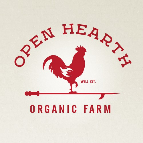 Rooster design with the title 'Open Hearth Farm'