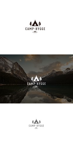Tree and mountain logo with the title 'California camp for grown-ups. Hipster-y logo'