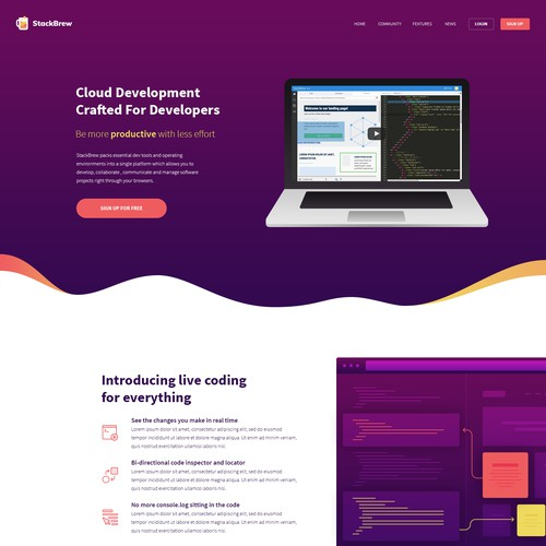 Gradient website with the title 'Beautiful Webpage for Development Toolkit'