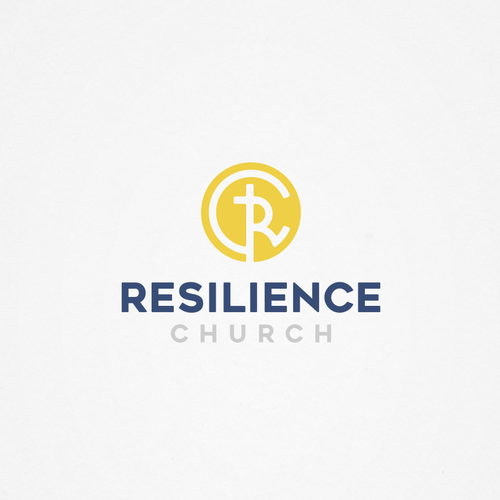 Yellow and blue design with the title 'Logo for Resilience Church'