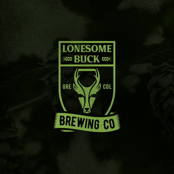 Beer glass logo with the title 'Lonesome Buck Brewing Co. Logo'