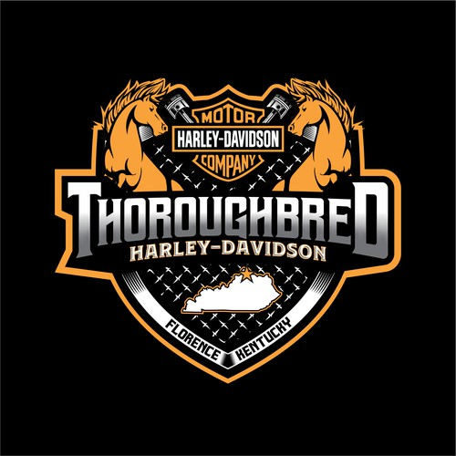Harley Davidson design with the title 'Thoroughbred harley davidson'