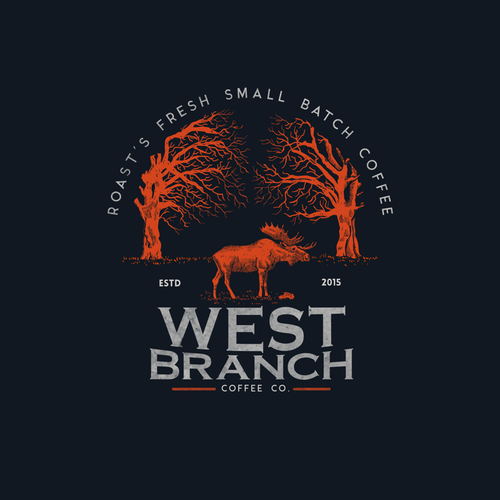 Sketching design with the title 'WEST BRANCH COFFEE CO'