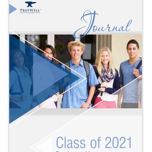 College book cover with the title 'Front cover and Layout for a student journal'