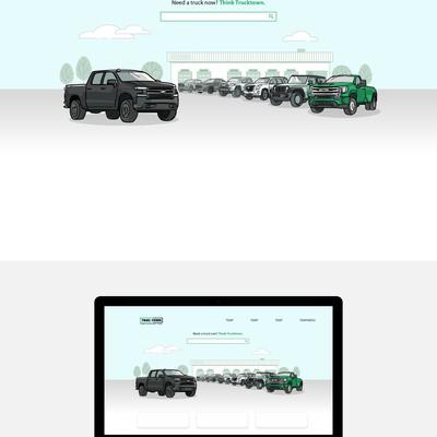 Website header illustration for a truck dealer business