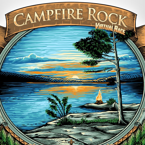 Campfire design with the title 'CAMPFIRE ROCK'