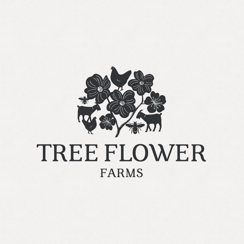 Bee design with the title 'Tree Flower Farms'