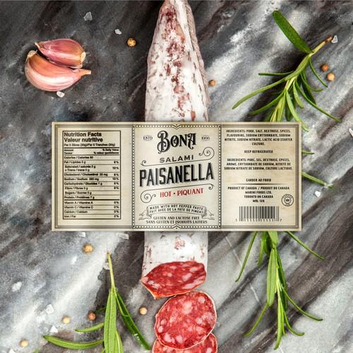 Premium design with the title 'Salami label design'
