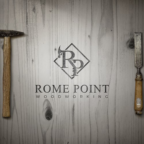Point logo with the title 'logo concept to furniture  wood art '