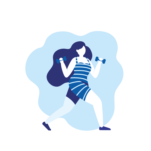 Fitness illustration with the title 'Monochrome illustration.'