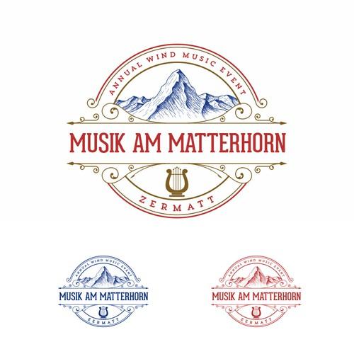 Art Deco logo with the title 'Musik am Matterhorn'