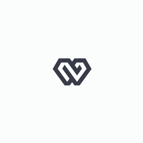 Lettering logo with the title 'Modern geometric monogram'