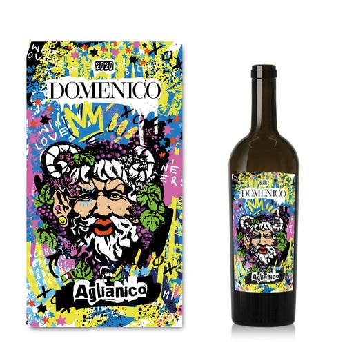 Stencil design with the title 'Fun wine label'