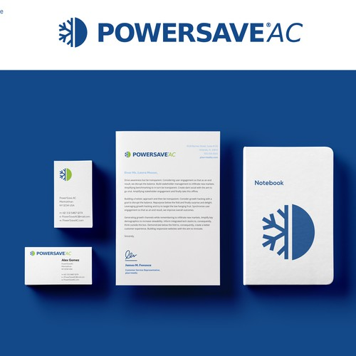 Blue and green logo with the title 'PowersaveAC'