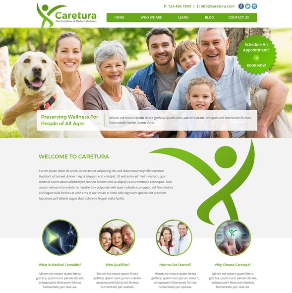 Bright website with the title 'Web Design for Caretura - Medical Cannabis Pharmaceutical Company'