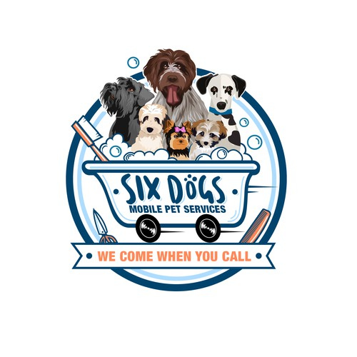 Dog design with the title 'animal logo for Six Dogs - Mobile Pet Services'