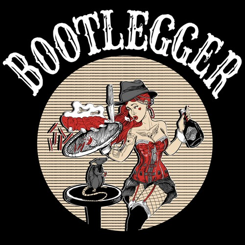 Pin-up girl illustration with the title 'Bootlegger Bar'