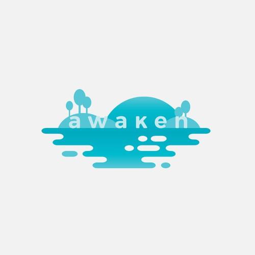 Yoga logo with the title 'Awaken'
