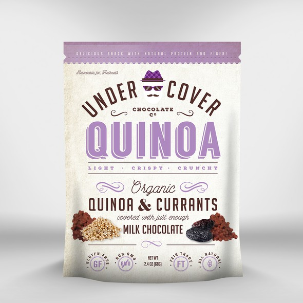 Stand-up pouch design with the title 'Quinoa Packaging'