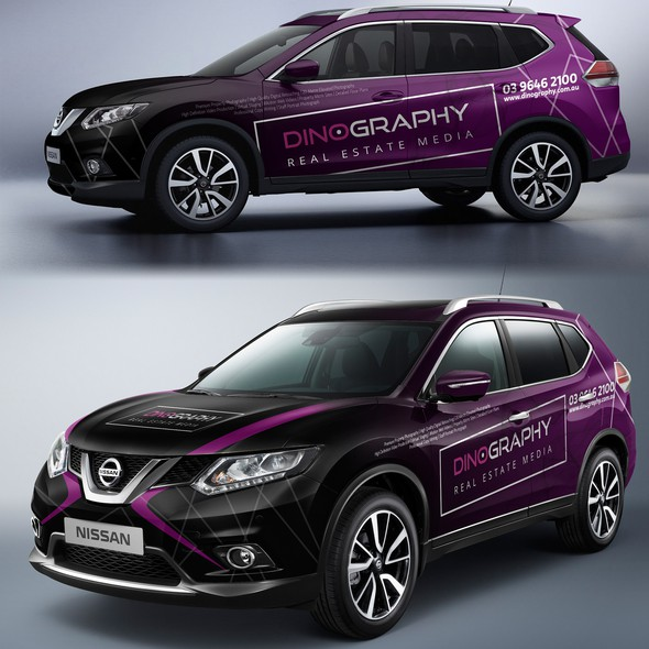 Purple and black design with the title 'Nissan wrap for photographer'