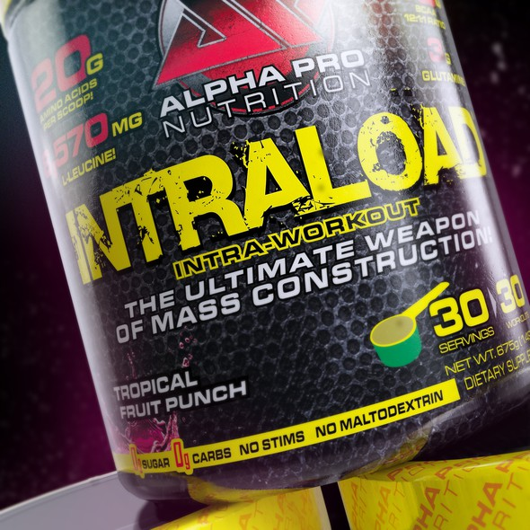 Bodybuilding design with the title '3d Rendering of a fitness supplement.'