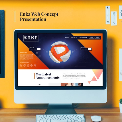 Car design with the title 'Enka Website Concept'