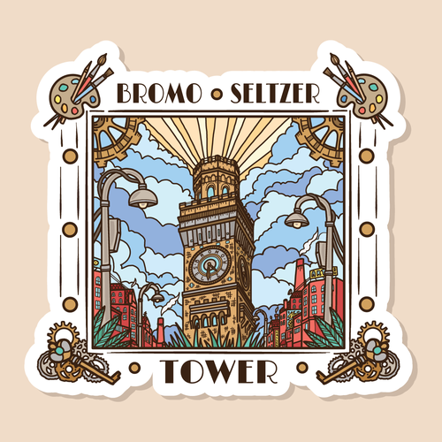 Tower design with the title 'Bromo Seltzer Tower sticker design'