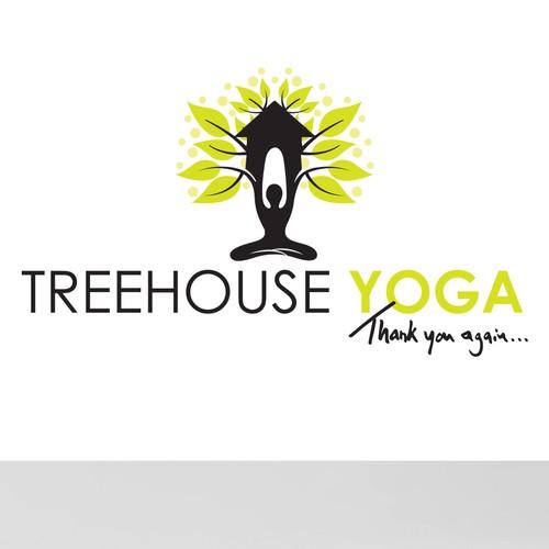 Arborist logo with the title 'treehouse yoga'