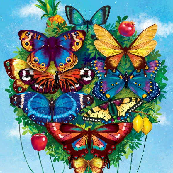 Butterfly artwork with the title 'Surreal air balloon'