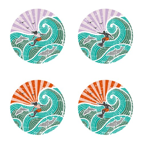 Dolphin design with the title 'Surfer'