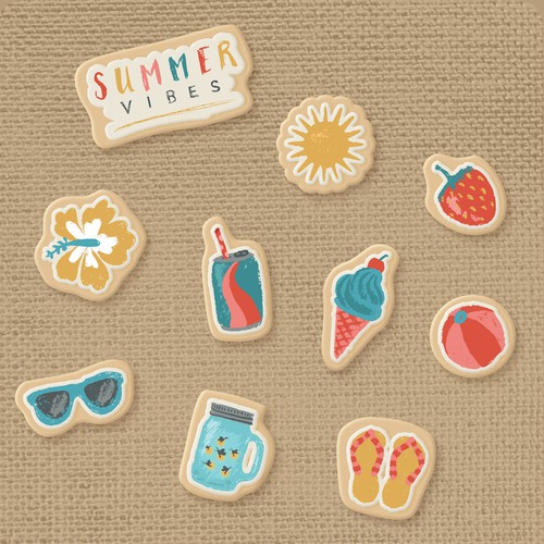 Ice cream illustration with the title 'Summer Cookie Illustrations'