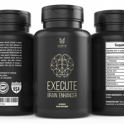 High-end label with the title 'Minimalistic label design for a nootropic'