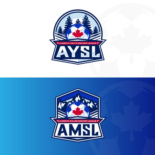 Canadian leaf logo with the title 'Finalist Logo for Alberta Soccer Leagues'