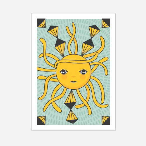 Triangle design with the title 'Cool and fresh sun tarot card'