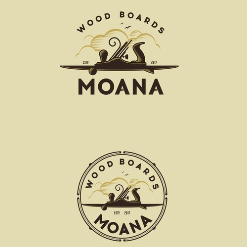 Wood logo with the title 'Moana Wood Boards'