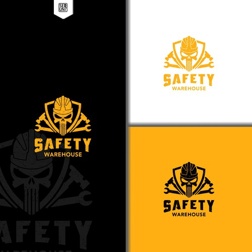 Warehouse design with the title 'simple vintage logo for Ecommerce site for safety supplies and gear for construction'