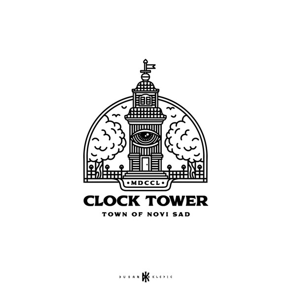 Town logo with the title 'Clock Tower'