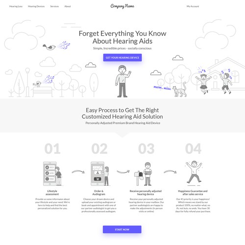 Website with the title 'Powerful webdesign for revolutionary hearing device platform'