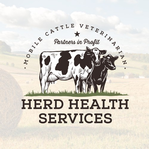 Cattle design with the title 'Mobile cattle veterinarian logo'